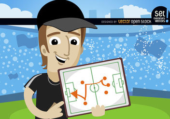 Football trainer shows strategy on board - Free vector #181021