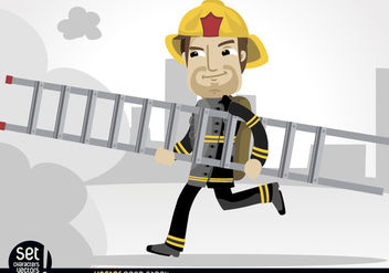 Fireman running with rescue ladder - vector gratuit #181031