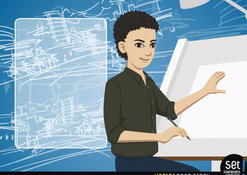Young Architect making a drawing with message - vector gratuit #181041