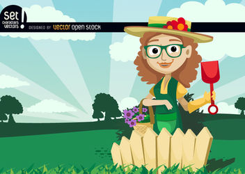 Female Gardener Planting Flower - Free vector #181081