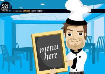 Chef Showing Menu in a Restaurant - vector gratuit #181091