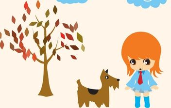 AIKO WALKING HER DOGGIE - vector #181161 gratis