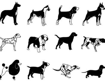 Black & White Breed Dog Silhouette Pack - Free vector #181291