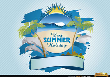 Summer beach logo - Free vector #181451