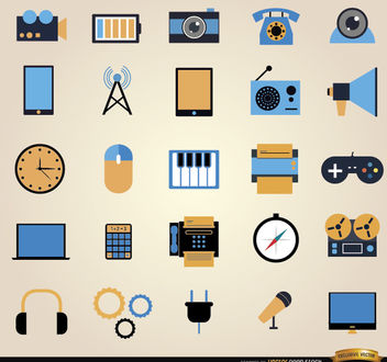25 Communication tools icon set - vector #181641 gratis