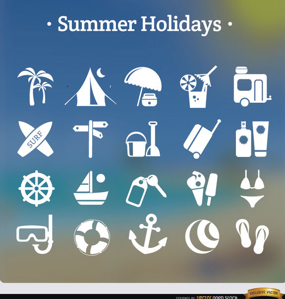 20 summer holidays white icons - бесплатный vector #181651