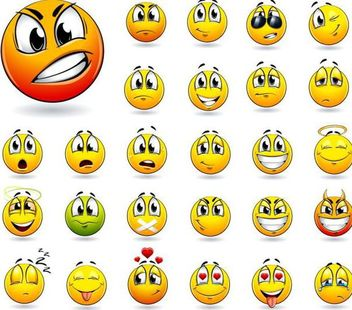Funky Yellow Emoticon Smiley Pack - Kostenloses vector #181701