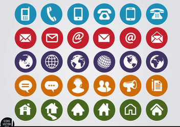 Round web contact icons set - vector gratuit #181711