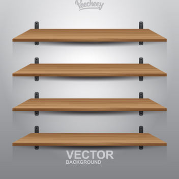 4 Interior Wooden Shelves - vector gratuit #181961