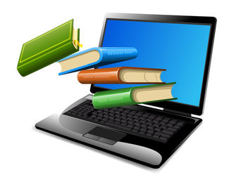 Books Floating on Opened Laptop - Free vector #182021