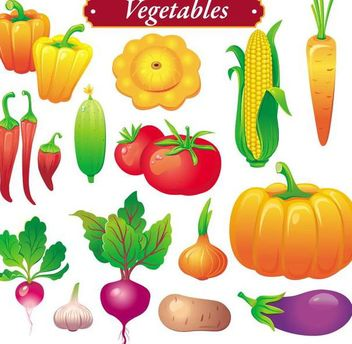 Bright Colored Vegetable Set - Kostenloses vector #182051