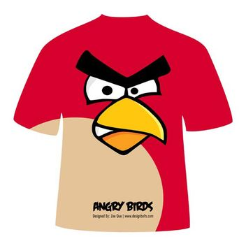 Red Angry Bird Avian Missile T-Shirt Design - Kostenloses vector #182071