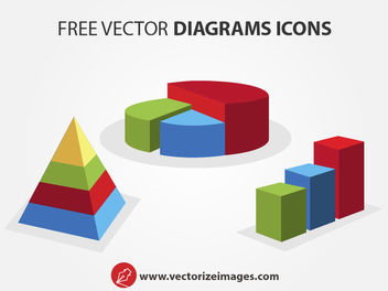 Clean 3D Diagram Icons - Free vector #182091