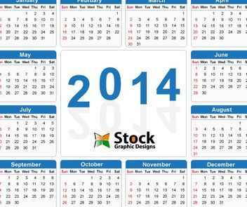 Template Blue Simple 2014 Calendar - Free vector #182151