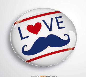 Love Father Moustache pin - Free vector #182181