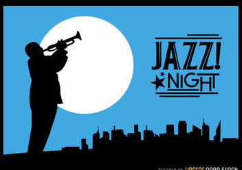Jazz trumpeter silhouette city night skyline - Free vector #182231