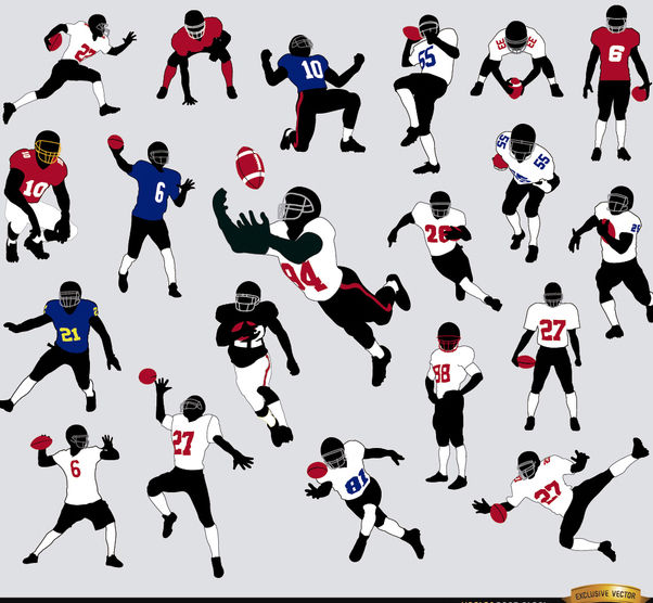 20 Silhouettes of American Football players - бесплатный vector #182311