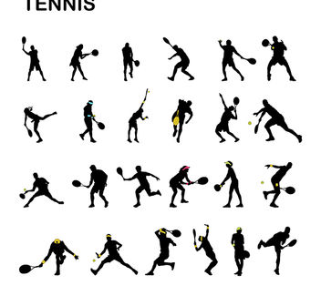 Male & Female Tennis Player Silhouette Pack - vector gratuit #182321