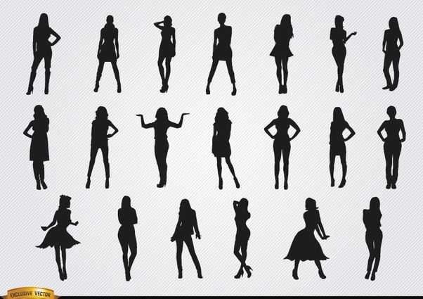 Women posing silhouettes - Free vector #182381