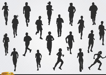 People jogging silhouettes - Free vector #182391