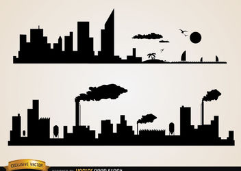 Skyline cities beach and industries - Free vector #182411
