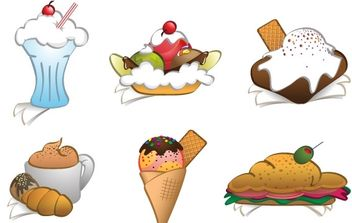 6 Free Vector Dessert Cliparts - Free vector #182461