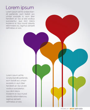Hearts colored poster - Free vector #182471