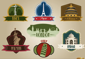 7 Countries landmark emblems - vector #182511 gratis