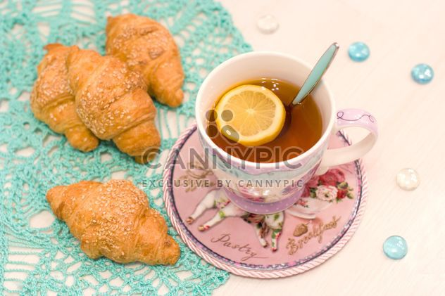 Cup of tea and croissants - Free image #182541