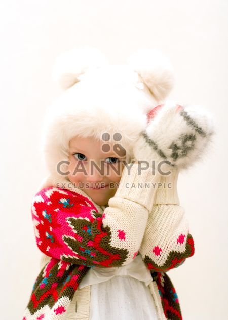 Small girl in warm knitted clothes - Free image #182551