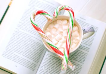Open book, cup of cocoa with marshmallows and candy on the table - image #182581 gratis