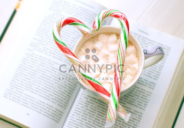Open book, cup of cocoa with marshmallows and candy on the table - Free image #182581