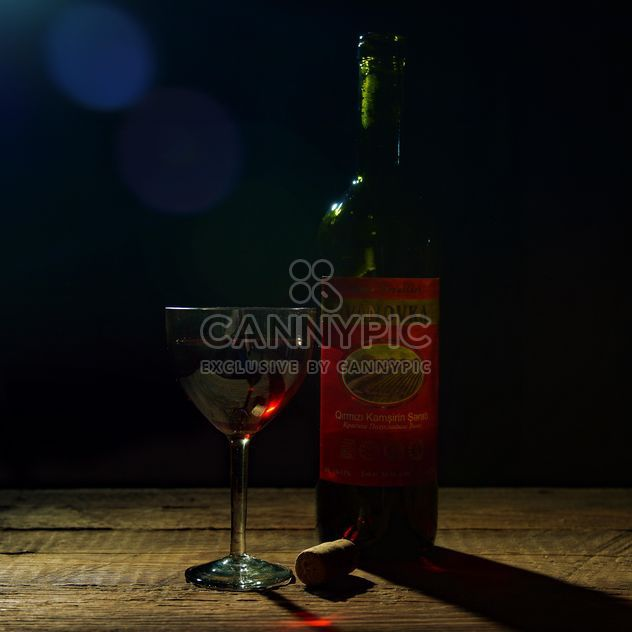 Bottle and glass of wine - Free image #182831
