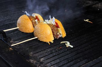 Fried burgers on grill - Free image #182881