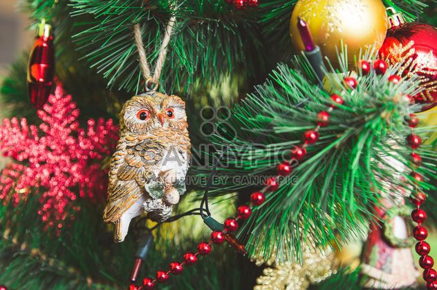 Cute Christmas toy on a branch - Free image #182941