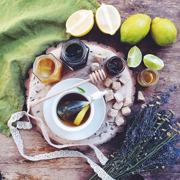 Tea with lemons and honey - Free image #183231