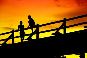 Boys on a bridge - image #184431 gratis