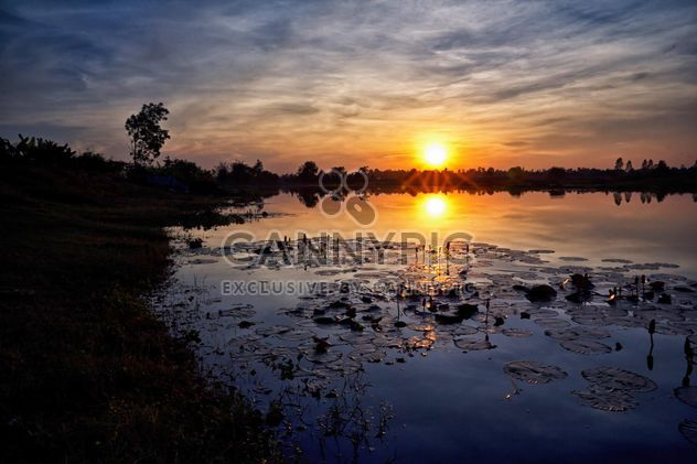 Landscape on lake at sunset - Free image #186121