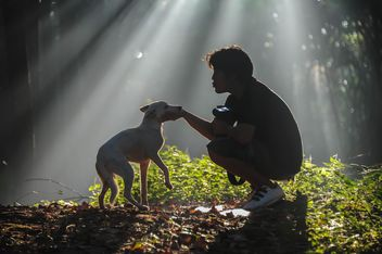 man with dog - image #186461 gratis