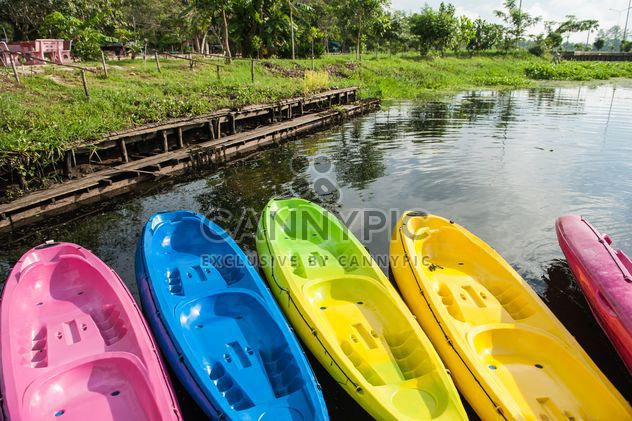 Colorful kayaks on lake - Free image #186531