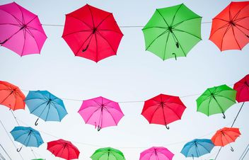 colored umbrellas hanging - image gratuit(e) #186541