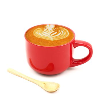 Coffee latte in red cup with wooden spoon - Free image #186981