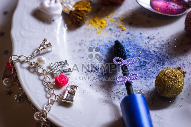 cosmetics and blue tinsel - Free image #187261