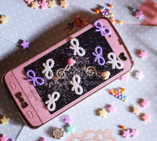 pink phone and beads - Free image #187271