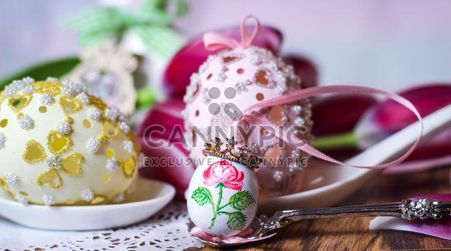 Painted Easter egg in spoon - Free image #187581