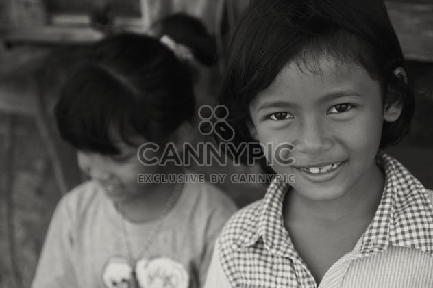 Two little Thai girls, black and white - Free image #197901