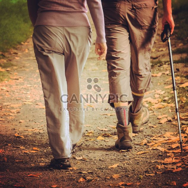 Old couple walking in autumn park - Free image #198231