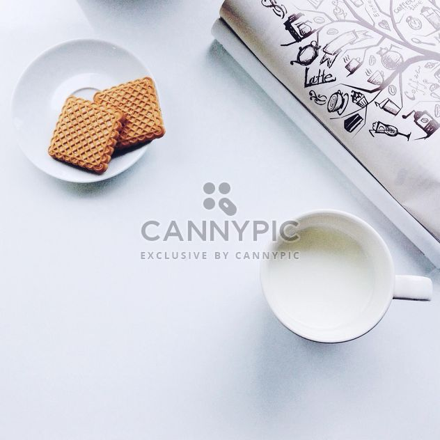 Cup of milk and cookies - Free image #198411
