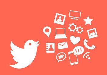 Vector Illustration of Twitter Bird and Other Communication Icons - Free vector #199071