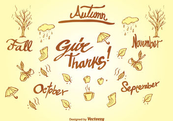 Doodle autumn elements - Free vector #199351